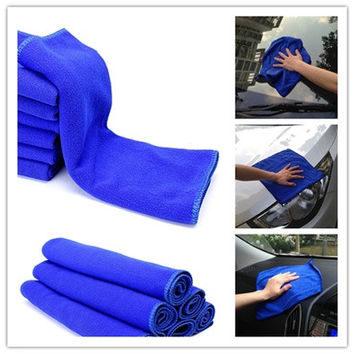 6PCS Microfiber Absorbent Blue Towel Car Clean Wash Polish Multi-function Towel  Clean [8045586055]