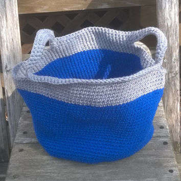 Ready to Ship - Large Crochet Basket - Gray top basket in blue  - Home Decor - Nursery - Beach - Storage - Gift Basket - Ready to Ship