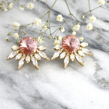 Blush Earrings, Bridal Blush Earrings, Bridal Earrings, Morganite Stud Earrings, Swarovski Dusty Pink Earrings, Bridesmaids Blush Earrings