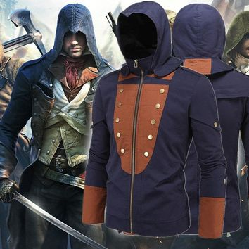Assassins creed costume assassins creed jacket unity arno hoodie black with blue shade with 5 interchangeable patches M-5XL z004