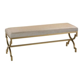 180-003 Double Bench in Cream Metallic Linen