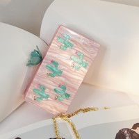 Flower Blush Pink Cactus Acrylic Box Clutch
