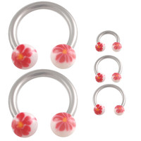 Hanpainted Flower Circular Barbell Horseshoe [Gauge: 16G - 1.2mmBall Size: 3mm] 316L Surgical Steel (Red) & Acrylic (Various Diameters) // Set...