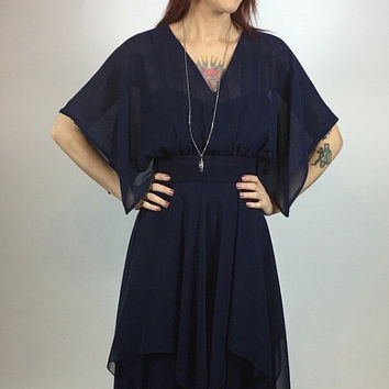 GORGEOUS Vintage 1970's Navy Blue Chiffon Disco Dress