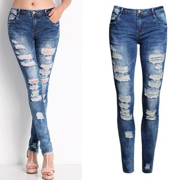 New 2016 Hot Fashion Ladies Cotton Denim Pants Stretch Womens Bleach Ripped Skinny Jeans Denim Jeans For Female