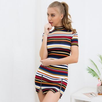 Stripes Split One Piece Dress [1381018009716]