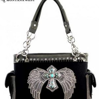 Montana West Wing and Cross Handbag with Turquoise Accents