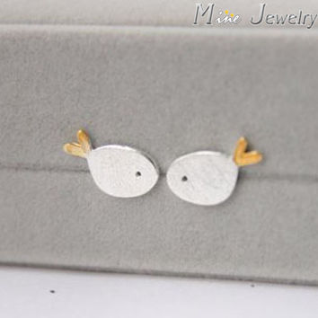 Free Shipping Fashion 925 Sterling Silver Stud Earrings Animal Small Fish Earrings For Women Jewelry