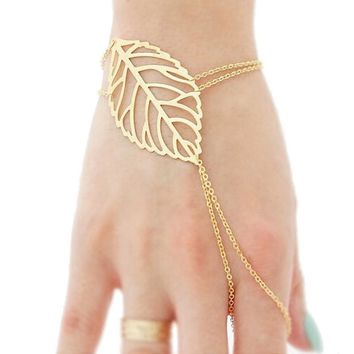 Fashion Women Hollow leaves Finger Ring Bangle Slave Chain Gold Bracelet