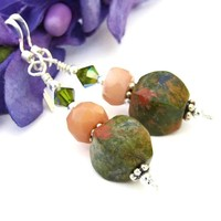 Rhyolite Handmade Earrings Green Gemstone Peach Coral Beaded Jewelry