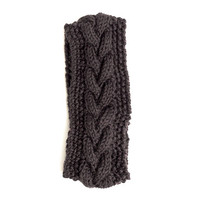 Cable Knit Headband Ear Warmer - Black
