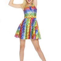 Girls Emoji Rainbow Zip Skater Dress