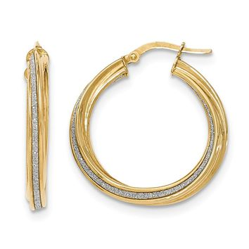 14K Yellow Gold Polished Glitter Infused Twisted Large Round Hoop Earrings