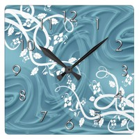Curls Over Blue With Filigree & Floral Square Wall Clock