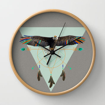 The indian eagle is watching over Po's dreamcatcher Wall Clock by AmDuf