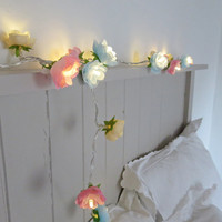 Rambling Rose Fairy Lights in Pale Blue, Pink and Parchment String Garland Flower Lights