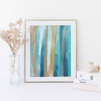 Abstract Kelp Forest Monterey Underwater Painting Wall Art Print