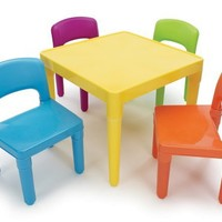 Tot Tutors Kids' Secondary Table and 4-Chair Set, Plastic
