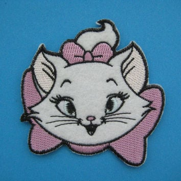 Iron-on Embroidered Patch Lovely Marie Cat 3 inch