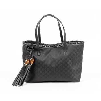 Gucci Ladies Black Grain Leather Bamboo Tassel Handbag