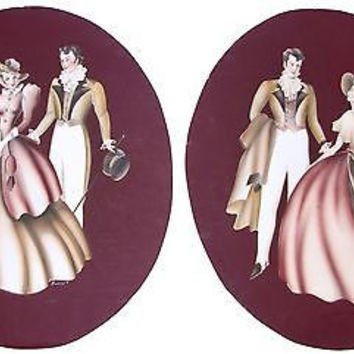 Turner Airbrush Watercolor Painting Mid Century Victorian Couple Figure SET2