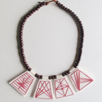 Embroidered geometric necklace hot pink pendants with chocolate brown Native American glass beads with pale pink glass toggle