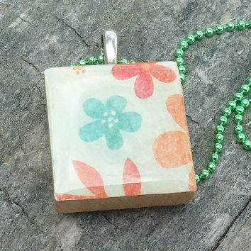 Pale Green, Red, Orange Green Flowers, Scrabble Style Pendant