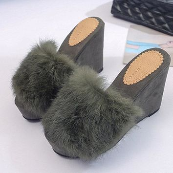 Wedges Heel Platform Slip On Solid color Fur Pumps For Women