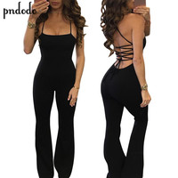 Pndodo 2017 Fashion Elegant Sexy Bandage Jumpsuit Trousers Summer Bodycon Outfits Backless Club Party Rompers Womens Jumpsuit