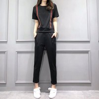 """Gucci"" Women Casual Multicolor Stripe Webbing Short Sleeve Trousers Set Two-Piece Sportswear"