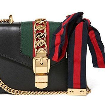 Beauty Ticks Gucci Women's Leather Classic Striped Bag #3161