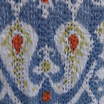 Ikat Kantha Quilt, Cotton Quilt India, Handmade Kantha Bed Cover, Queen Size Ikat Kantha Bedspread, Reversible Kantha Throw,Blue Color Theme