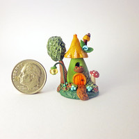 Miniature Garden Fairy House with Tree and Lamp Post by C. Adams 2014