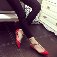Rivet Hollow Out Flat Pointed Toe Shoes = 4814688260