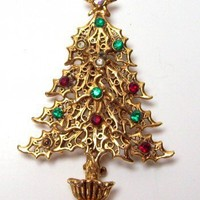 Vintage Goldtone and Rhinestone Christmas Tree Brooch