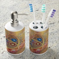 Toothbrush Holder and Soap Dispenser Set Butterfly