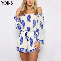 YOINS 2017 BOHO Vintage Leaf Print Off The Shoulder Playsuit Sexy Slash Neck Long Sleeve Jumpsuit Summer Beach Romper Plus Size