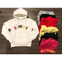 Supreme Flocking Embroidery Color Letters Hoodie Sweater S--XXL