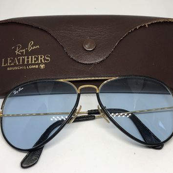 Ray Ban B&L USA Leather & Blue Changeable Aviator Sunglasses 58mm