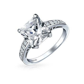 2.5CT Princess Cut AA CZ Solitaire Engagement Ring 925 Sterling Silver