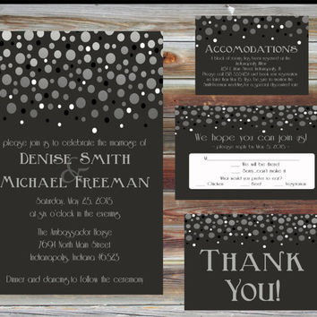 Printable Custom Modern Wedding Invitation Package - Personalized Champagne Theme Wedding Invite - Thank You RSVP Accommodations Card