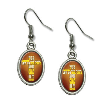 Bible Verse Cross Psalm - This is day that the Lord Dangling Drop Oval Earrings