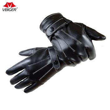 Vbiger Men Touch Screen Cycling Running Gloves Warm PU Leather Outdoor Sports Gloves Winter Gloves Mittens with Coral Fleece
