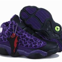 New Nike Air Jordan 13 Kids Shoes Leopard Black Purple