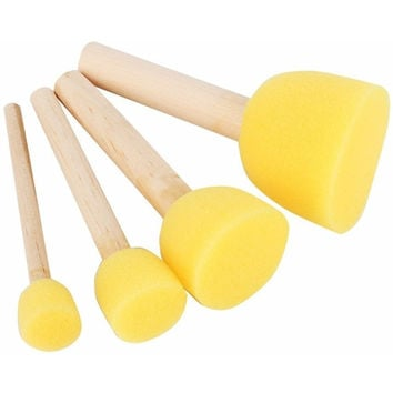 4PCS ROUND STENCIL SPONGE FOAM BRUSHES WOODEN HANDLE FOR FURNITURE ART CRAFTS STENCILING PAINTING TOOL SUPPLIES