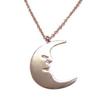 Rose Gold Toned Moon Design Pendant Necklace