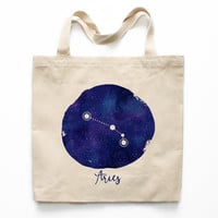 Aries Zodiac Constellation Canvas Tote Bag