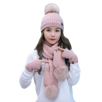 Girls Warm 3 Pieces Sets Winter Hats Scarf Gloves For Women Thick Cotton Winter Accessories Set Female Lady Beanie Scarf Gloves