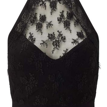 Black Lace High Neck Bra Top - Tops - Apparel