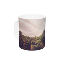 "Jillian Audrey ""Walden Woods"" Green White Ceramic Coffee Mug"